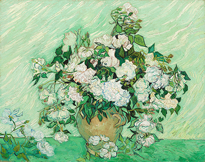 Still Life - Vase with Pink Roses Vincent van Gogh